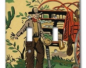 Chuck Wagon Cowboy 1950's Vintage Wallpaper Double Switch Plate
