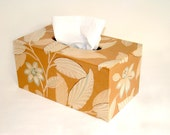 Tropical Floral 1930's Antique Wallpaper Large Tissue Box Cover