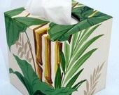 Tropical Floral Bamboo 1950's Vintage Wallpaper Tissue Box Cover