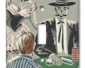 The Gambler Cowboy 1950's Vintage Wallpaper Switch Plate