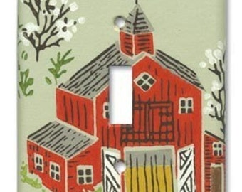Country Red Barn 1960's Vintage Wallpaper Switch Plate