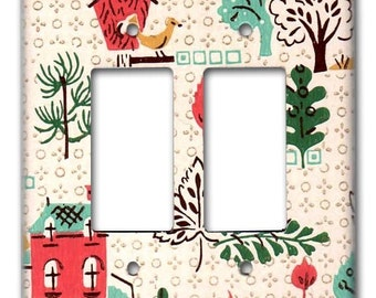 Country Charms 1950's Vintage Wallpaper Double Decora Switch Plate
