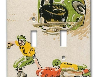 Green Bay Packers Football 1960's Vintage Wallpaper Double Switch Plate
