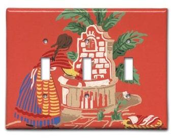 Senora Reune Agua 1950's Vintage Wallpaper Triple Switch Plate