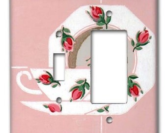 Tea and Roses 1940's Vintage Wallpaper Double Switch Decora Plate