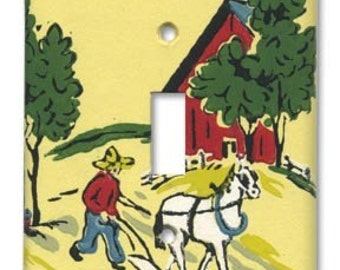 Life on the Farm 1950's Vintage Wallpaper Switch Plate