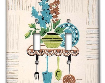 Double Switch Plate 1950's Vintage Wallpaper Mid Century Kitchen