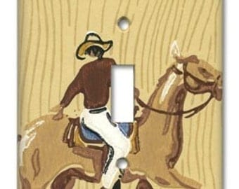 Western Cowboy 1950's Vintage Wallpaper Switch Plate