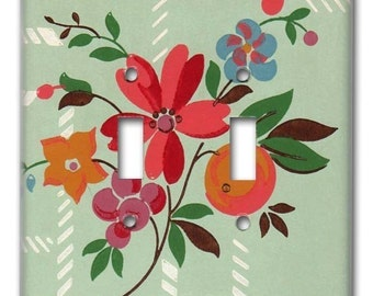 Fruit and Floral 1940's Vintage Wallpaper Double Switch Plate