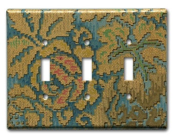 Floral Tapestry 1920's Antique Wallpaper Triple Switch Plate