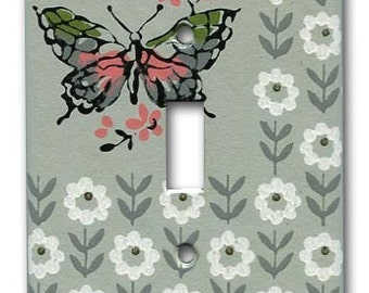 Charming Butterfly Floral 1950's Vintage Wallpaper Switch Plate