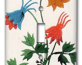 Wild Columbine Flowers Garden 1950's Vintage Wallpaper Switch Plate