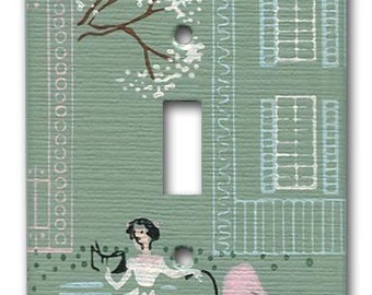 Mom and Baby along Tree Lined Lane Switch Plate 1950's Vintage Wallpaper