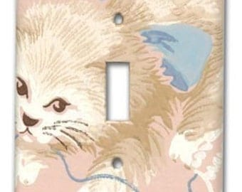 Pink Playful Cat 1950's Vintage Wallpaper Switch Plate