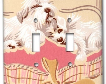 Puppy Love 1950's Vintage Wallpaper Double Switch Plate