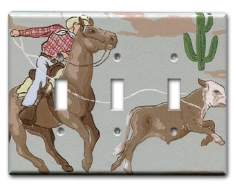 Rope and Ride Cowboy 1940's Vintage Wallpaper Triple Switch Plate