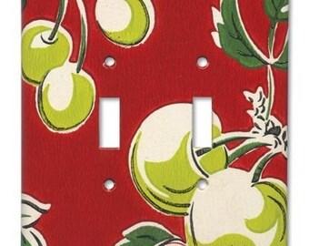 Double Switch Plate 1940's Vintage Wallpaper Tutti Fruity