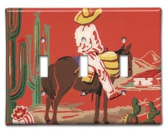 Los Hombre Solitario 1950's Vintage Wallpaper Triple Switch Plate