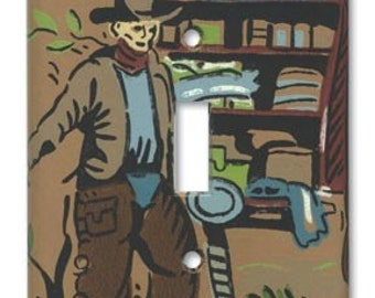 Chuck Wagon Cowboy 1950's Vintage Wallpaper Switch Plate