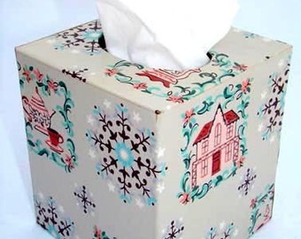 Tissue Box Cover 1950's Vintage Wallpaper Cozy Country Charm