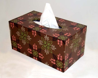 Large Tissue Box Cover 1950's Vintage Wallpaper Brown Geometric Leaf