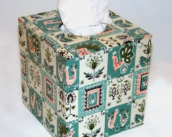 Turquoise Country Pattern 1950's Vintage Wallpaper Tissue Box Cover