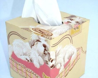 Tissue Box Cover 1950's Vintage Wallpaper Puppy Love