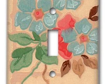 Craftsman Floral 1940's Vintage Wallpaper Switch Plate