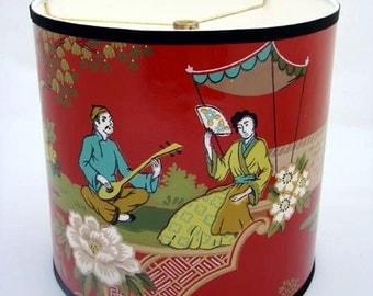 Vintage Wallpaper Drum Shade 1950's Geisha Serenade