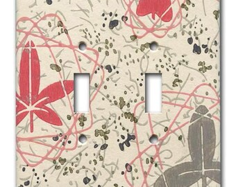 Mid Century Atomic Floral 1950's Vintage Wallpaper Double Switch Plate