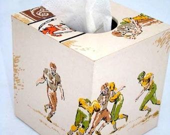 Football Gridiron Greats 1960's Vintage Wallpaper Tissue Box Cover