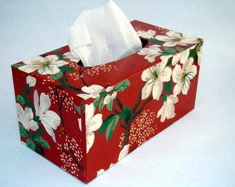 Tissue Box Cover 1950's Vintage Wallpaper Asian Dogwood Floral