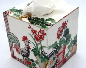Country Rooster Floral 1950's Vintage Wallpaper Tissue Box Cover