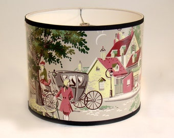 Vintage Wallpaper Drum Shade 1950's Colonial Port Towne