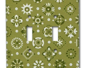 Double Switch Plate 1960's Vintage Wallpaper Green Mid Mod Do-Dads