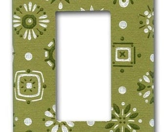 Green Mid Mod Do-Dads 1960's Vintage Wallpaper Decora Switch Plate