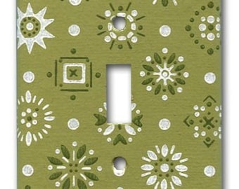 Green Mid Mod Do-Dads 1960's Vintage Wallpaper Switch Plate