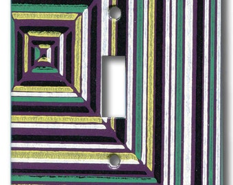 Stella Stripe Abstract in Violet Single Switch plate 1950's Vintage Wallpaper