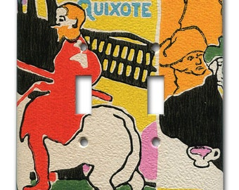 Double Switch Plate 1960's Mod Vintage Wallpaper Don Quixote