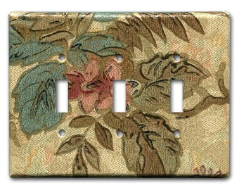 Triple Switch Plate 1920's Antique Wallpaper Floral