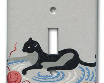 Black Cat Switch Plate 1950's Vintage Wallpaper