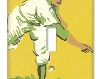 Strike One Baseball 1950's Vintage Wallpaper Switch Plate