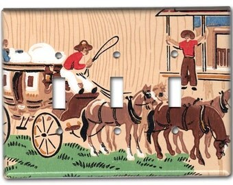 Western Stagecoach Cowboys 1950's Vintage Wallpaper Triple Switch Plate