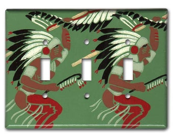 Native American Warrior Indian War Dance 1950s Vintage Wallpaper Triple Switch Plate