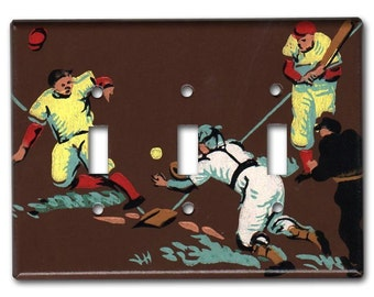 Stealing Home Baseball Classic 1950's Vintage Wallpaper Triple Switch Plate