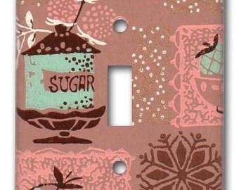 Sugar Bowl Kitchen 1950's Vintage Wallpaper Switch Plate