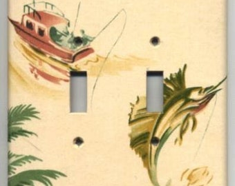 Vintage Wallpaper Double Switch Plate 1950's Sport Fishing