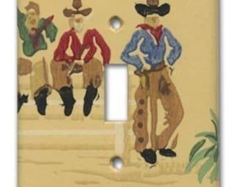 Cowboy Tres Bandidos 1940's Vintage Wallpaper Switch Plate