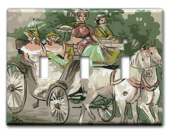 Southern Belles 1940's Vintage Wallpaper Triple Switch Plate