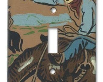 Bronc Bustin Cowboy 1950's Vintage Wallpaper Switch Plate